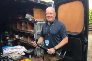 Chris Power tinkering in the work van - heating and gas engineer located in Bury St Edmunds
